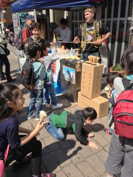 Kids Laughing at Ice Cream Man Vendor